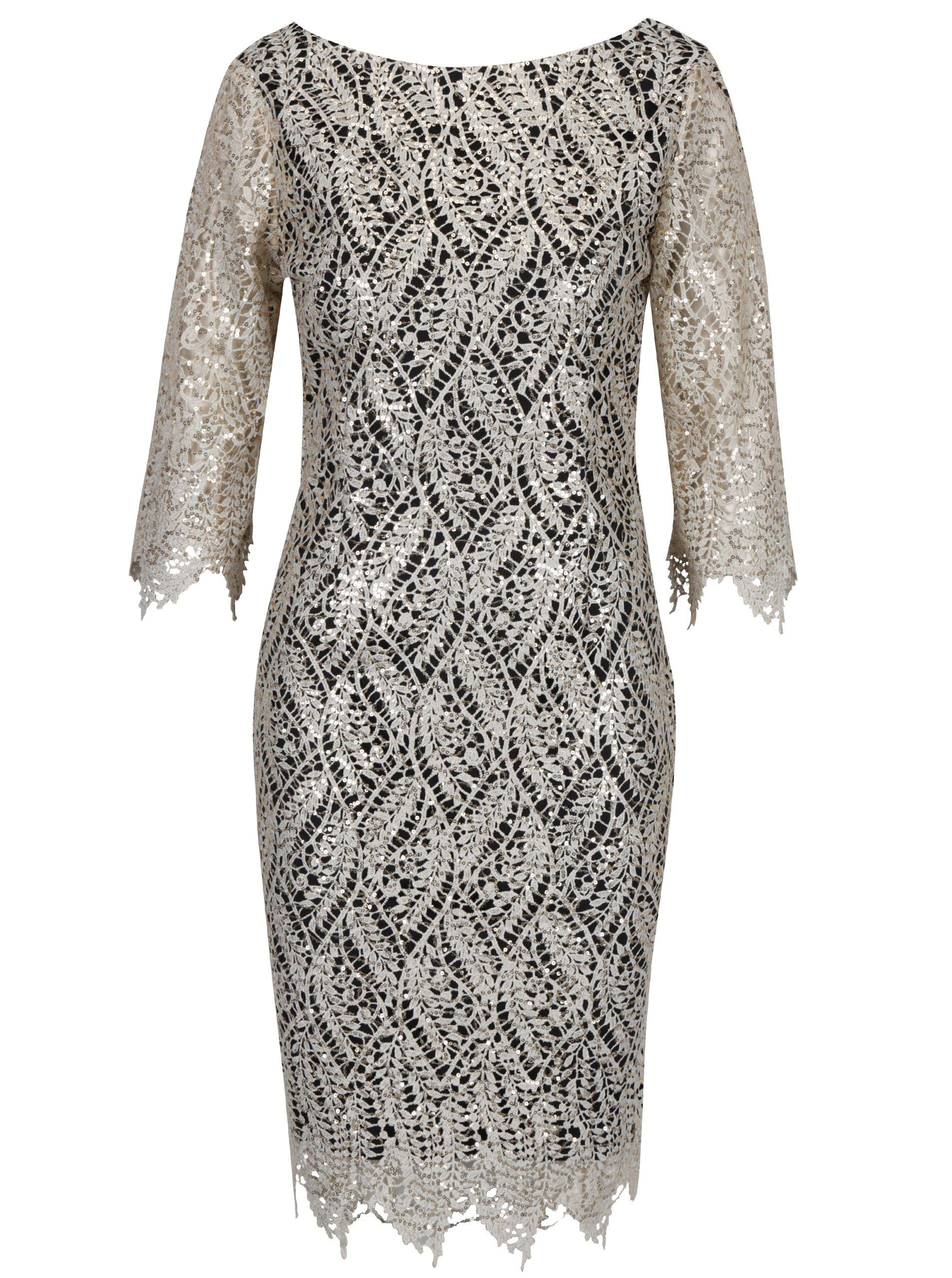 f8bf82c26e14 Čierne puzdrové čipkované šaty s flitrami v zlatej farbe Paper Dolls ...