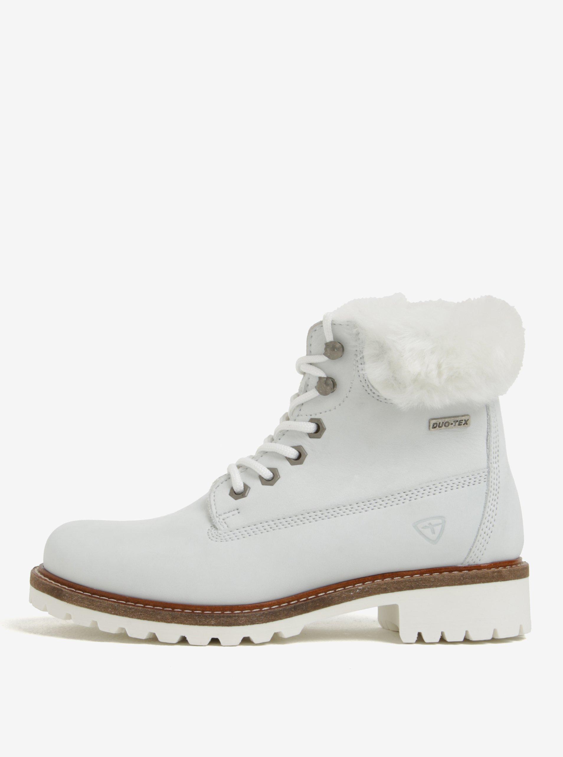 fc7f07ce3c6d Biele vodovzdorné zimné členkové kožené topánky s vlnenou podšívkou Tamaris