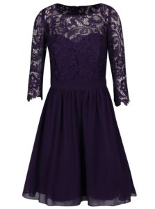 Fialové šaty s čipkovaným topom Dorothy Perkins