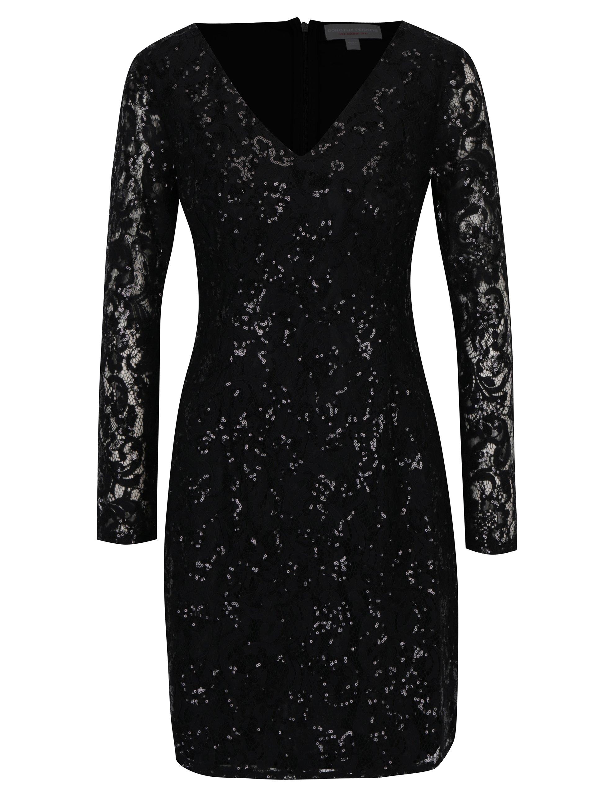 Čierne čipkované šaty s flitrami Dorothy Perkins  edd5e0f7a74