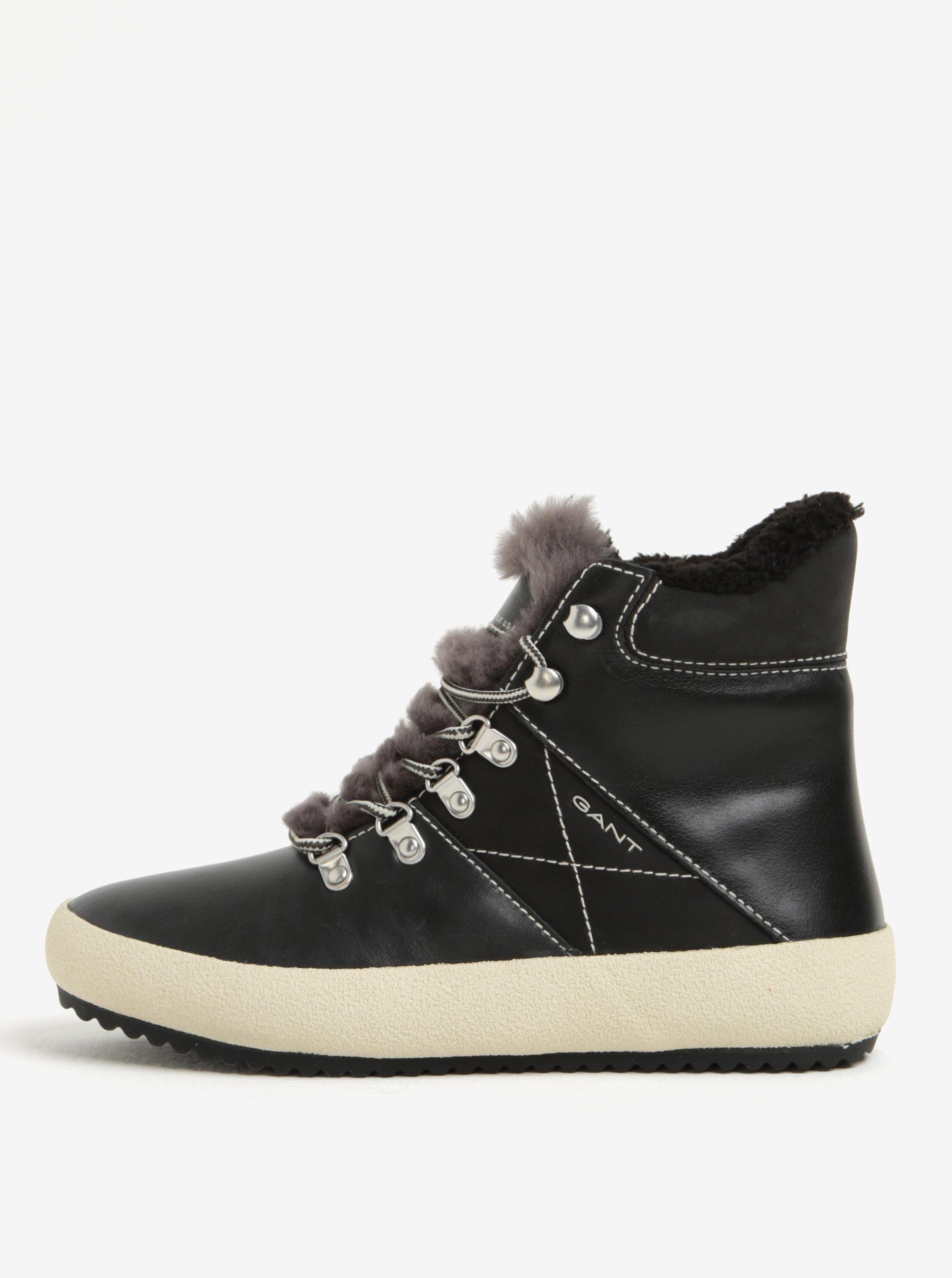 4fa39727ee45 Čierne dámske kožené zateplené členkové topánky GANT Amy