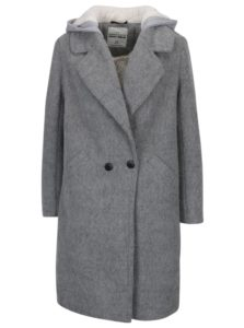 Sivý vlnený kabát s kapucňou a umelým kožúškom TALLY WEiJL