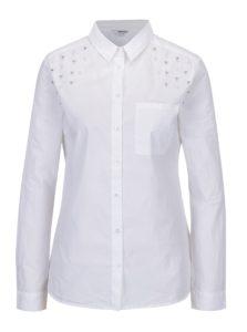 Biela košeľa s aplikáciou v tvare perál TALLY WEiJL