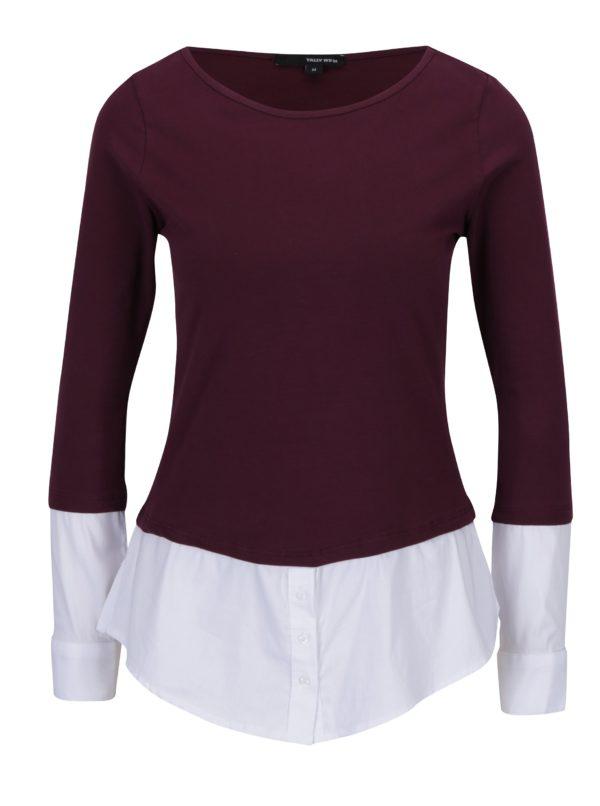 Vínové tričko so všitým spodným lemom a rukávmi TALLY WEiJL