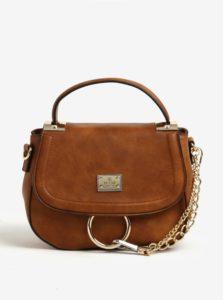 Hnedá crossbody kabelka s retiazkou v zlatej farbe Bessie London