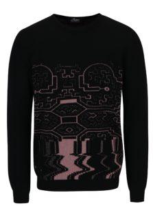 Ružovo-čierny sveter z merino vlny Live Sweaters Ayahuasca