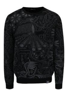 Sivo-čierny sveter z merino vlny Live Sweaters Hikuri