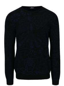 Modro-čierny sveter z merino vlny Live Sweaters Hikuri