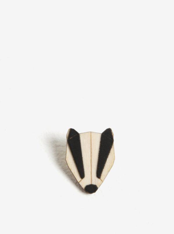 Drevená brošňa v tvare jazveca BeWooden Badger Brooch