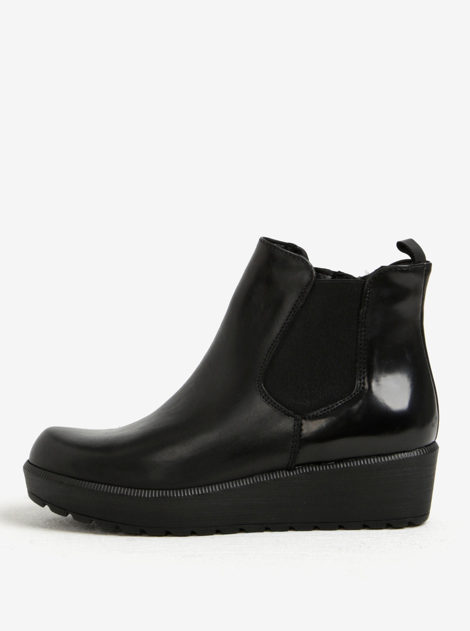 bd5606e68004 Čierne kožené chelsea topánky na platforme Tamaris