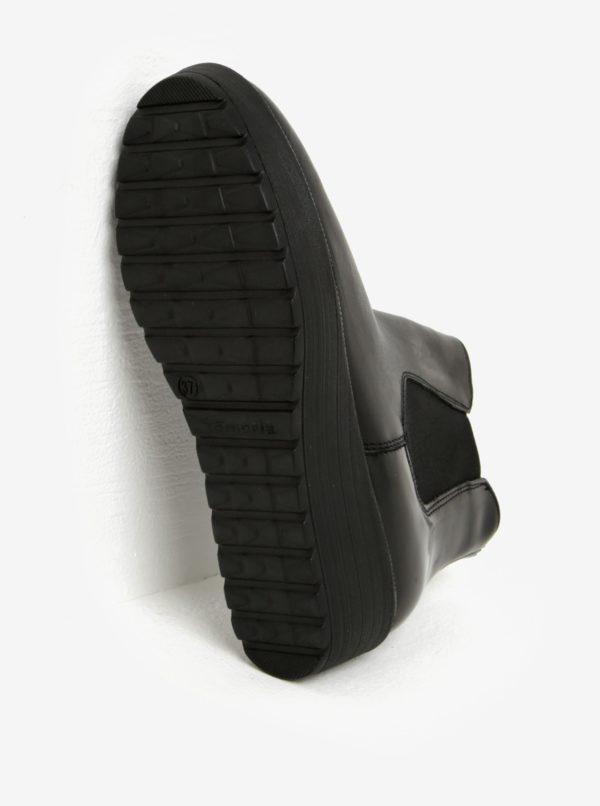 Čierne kožené chelsea topánky na platforme Tamaris