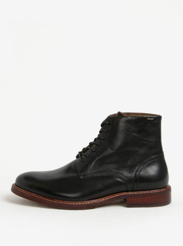 Čierne pánske kožené členkové topánky ALDO Lamere