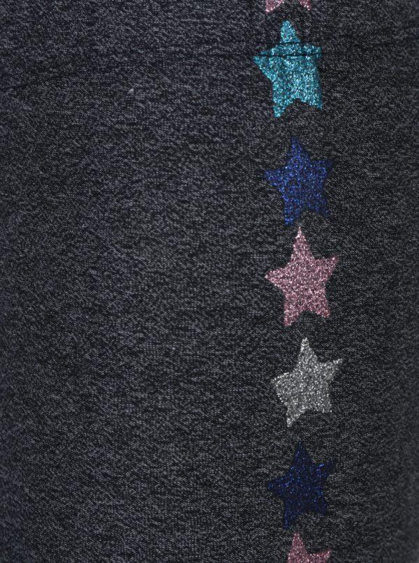 Tmavosivé melírované dievčenské legíny s potlačou hviezd 5.10.15.