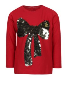 Červené dievčenské tričko s flitrami v tvare mašle 5.10.15.