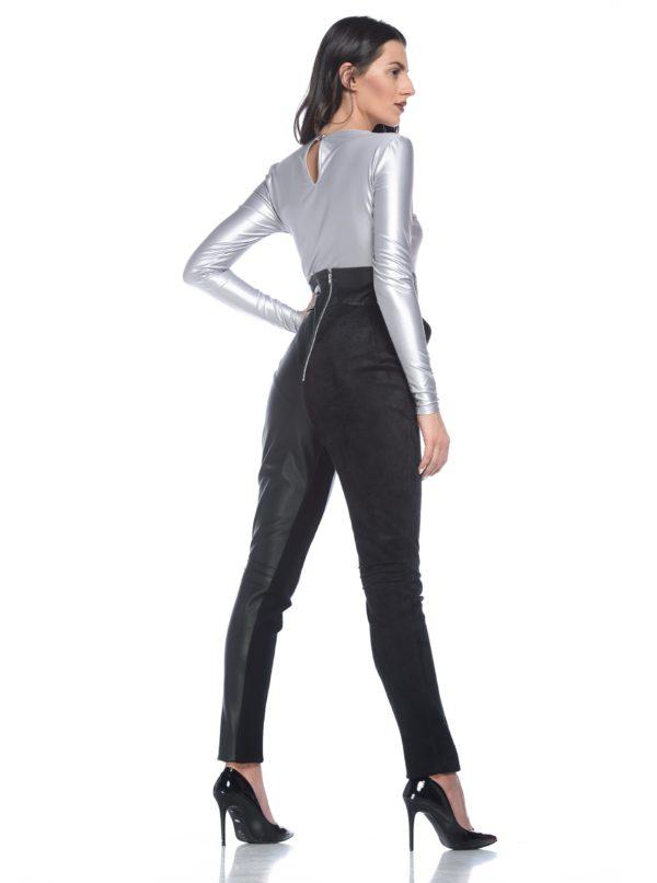 Čierne koženkové nohavice s vysokým pásom Alexandra Ghiorghie Sores