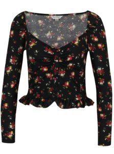 Čierny kvetovaný crop top s volánom Miss Selfridge