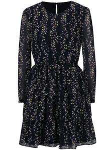 Tmavomodré vzorované šaty s volánmi ONLY Ditte