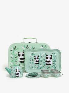 Zelená detská čajová súprava s motívom pandy Sass & Belle Aiko Panda