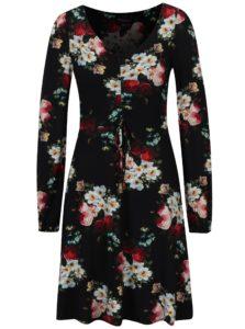 Čierne kvetované šaty s dlhým rukávom Dorothy Perkins