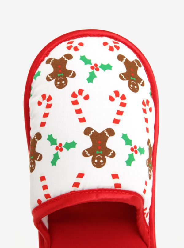 Červeno-biele unisex papuče s vianočným motívom Slippsy