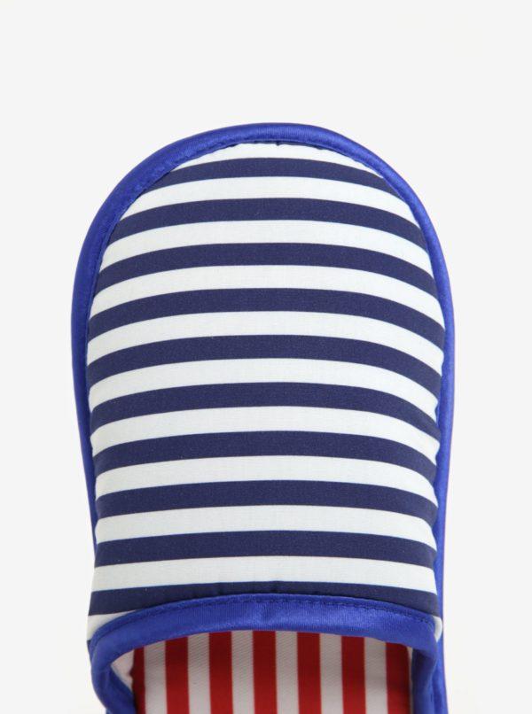Modro-biele unisex pruhované papuče Slippsy Old sailor