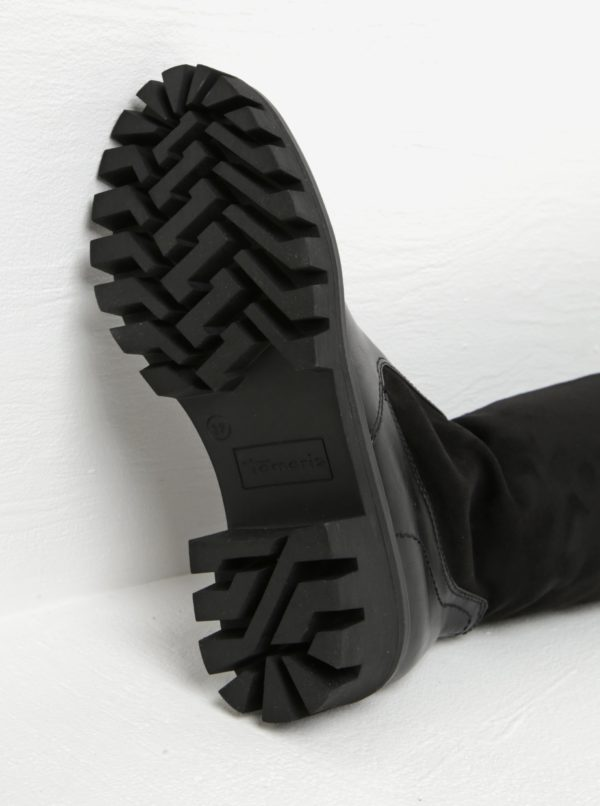 Čierne vysoké čižmy na platforme a podpätku v semišovej úprave Tamaris