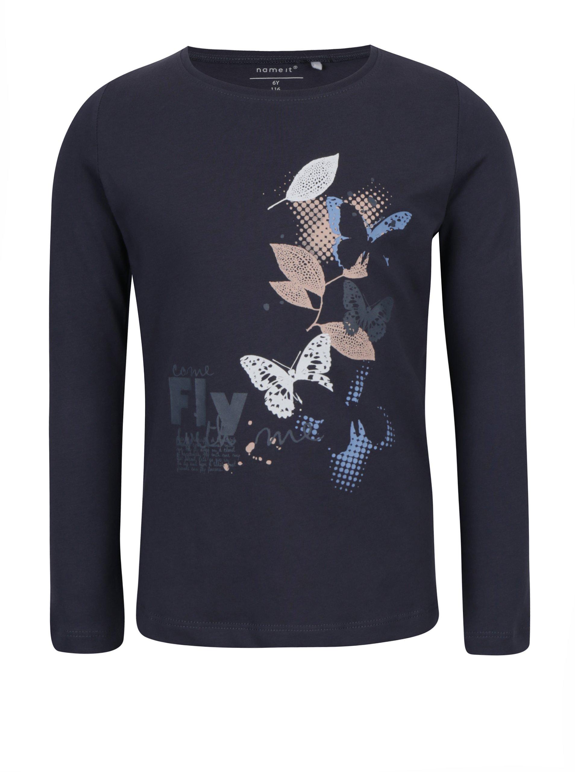 57ca4c2c7384 Tmavosivé dievčenské tričko s potlačou a dlhým rukávom name it Veen ...
