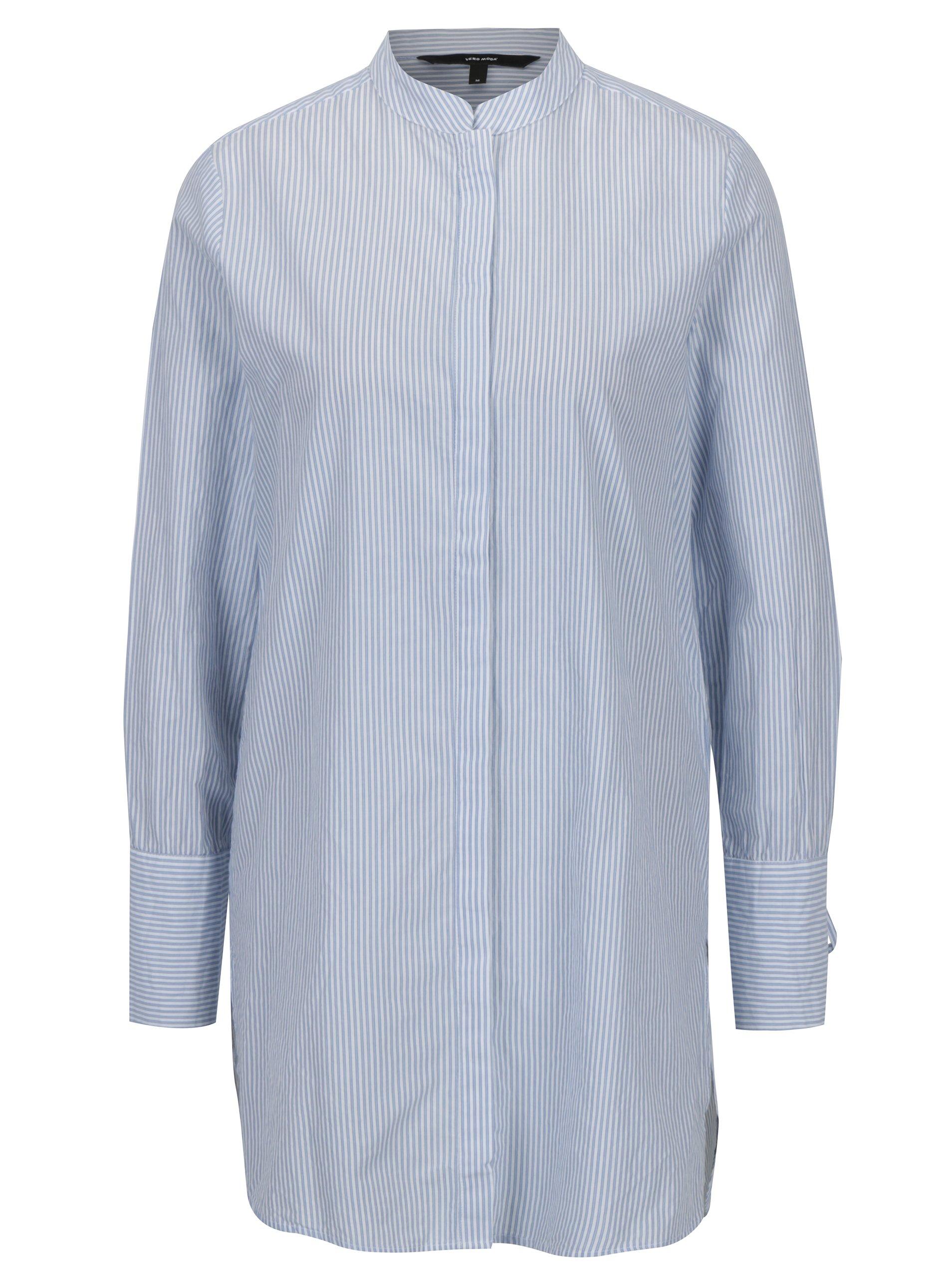 ffb1042b9532 Modro-biela dlhá košeľa VERO MODA Juljane