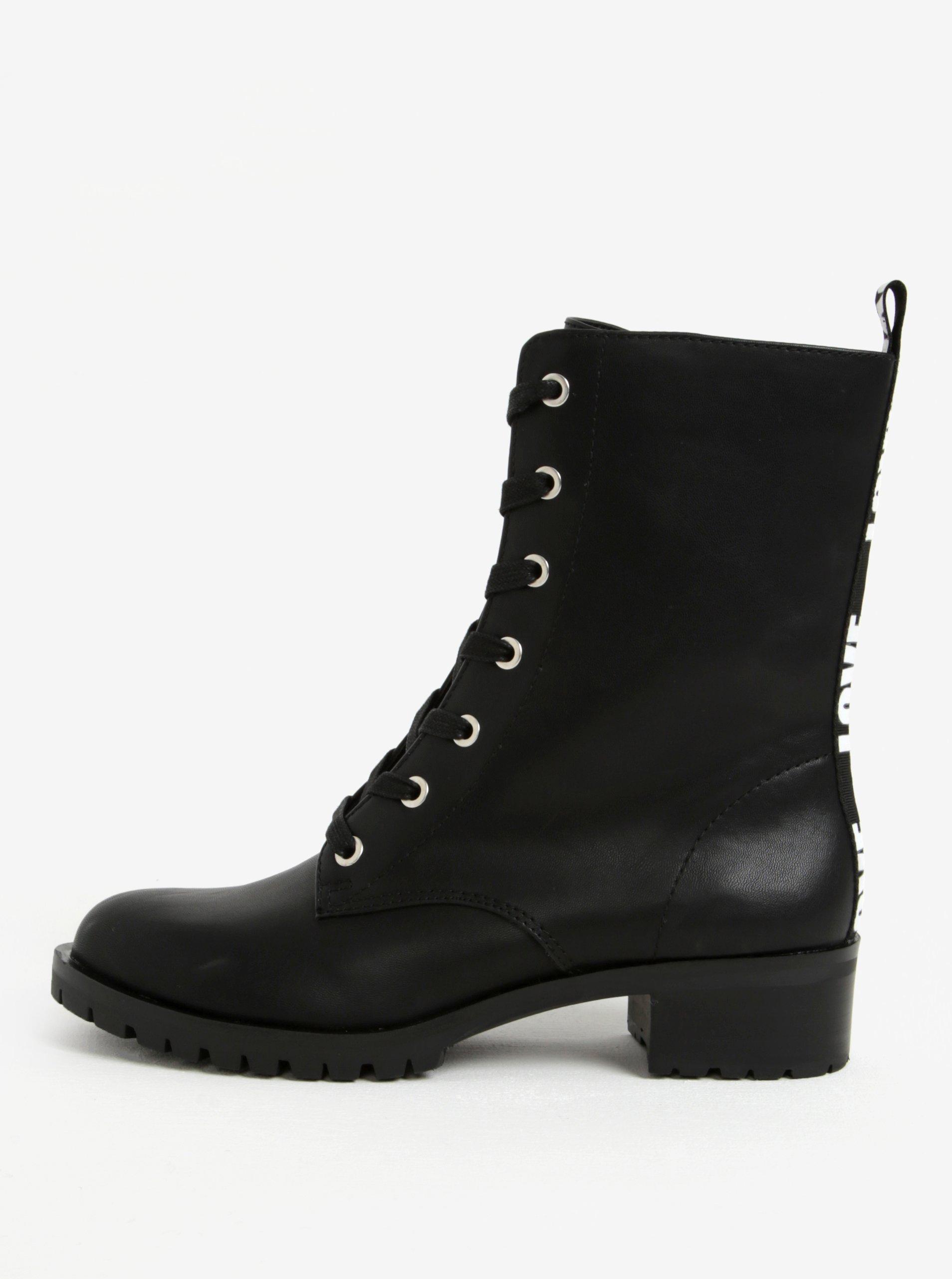f3c28305fe90c Čierne členkové dámske topánky s potlačou na päte ALDO Trulle | Moda.sk
