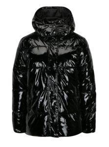 Čierna lesklá zimná bunda s kapucňou Noisy May Snipe