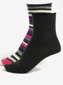 Súprava dvoch párov dámskych ponožiek v tmavosivej a ružovej farbe JELL