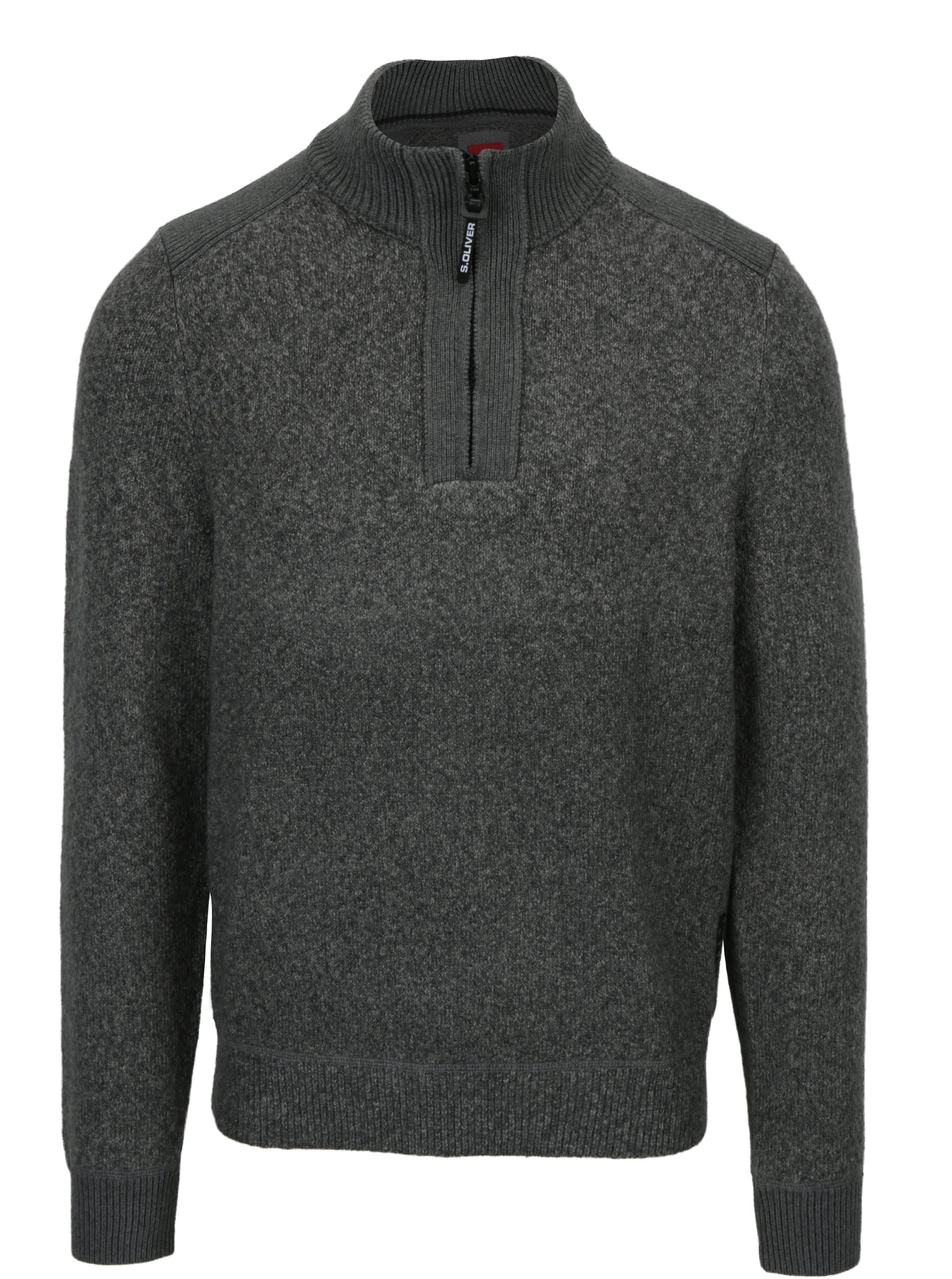 e5194e40e995 Sivý pánsky melírovaný sveter so stojačikom s.Oliver