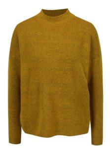 Horčicový melírovaný dámsky sveter so stojačikom QS by s.Oliver