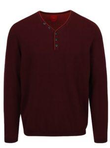 Vínový pánsky sveter s véčkovým výstrihom a gombíkmi s.Oliver