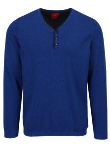 Modrý pánsky sveter s véčkovým výstrihom a gombíkmi s.Oliver