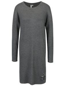 Sivé šaty s flitrami v tvare hviezdy QS by s.Oliver