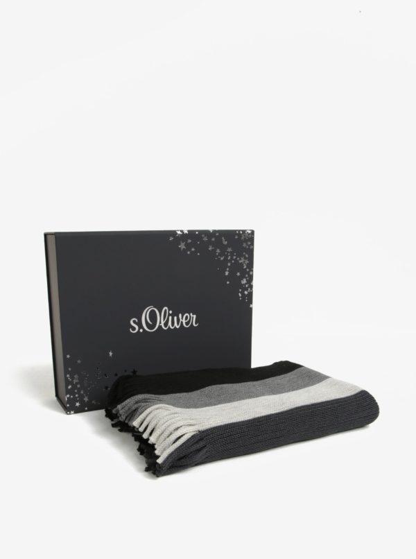 Čierno-sivý pánsky pruhovaný šál s prímesou vlny s.Oliver