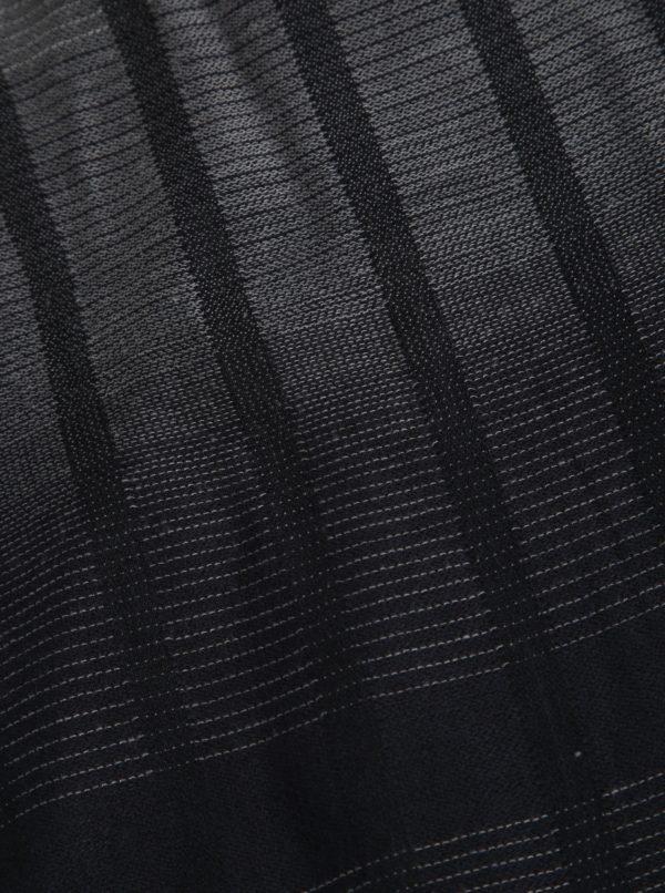 Čierno-sivý pánsky tenký pruhovaný šál s.Oliver