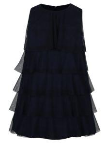 Tmavomodré dievčenské šaty s tylovými volánmi 5.10.15.