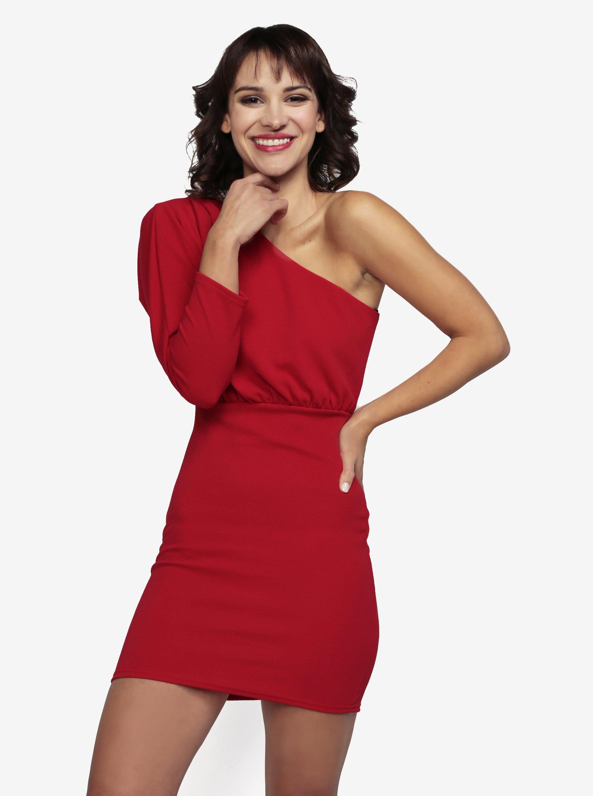 535cf183e7b5 Červené asymetrické šaty MISSGUIDED