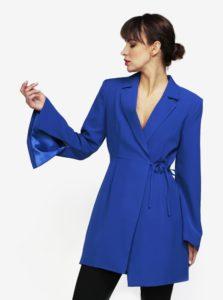 Modré zavinovacie šaty s prestrihom na chrbte MISSGUIDED