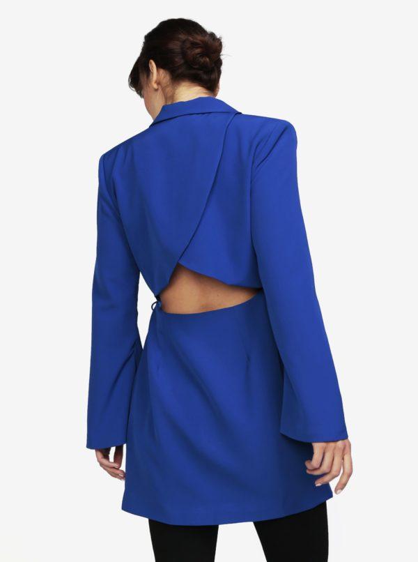 Modré zavinovacie šaty s prestrihom na chrbte MISSGUIDED  34d428507c4