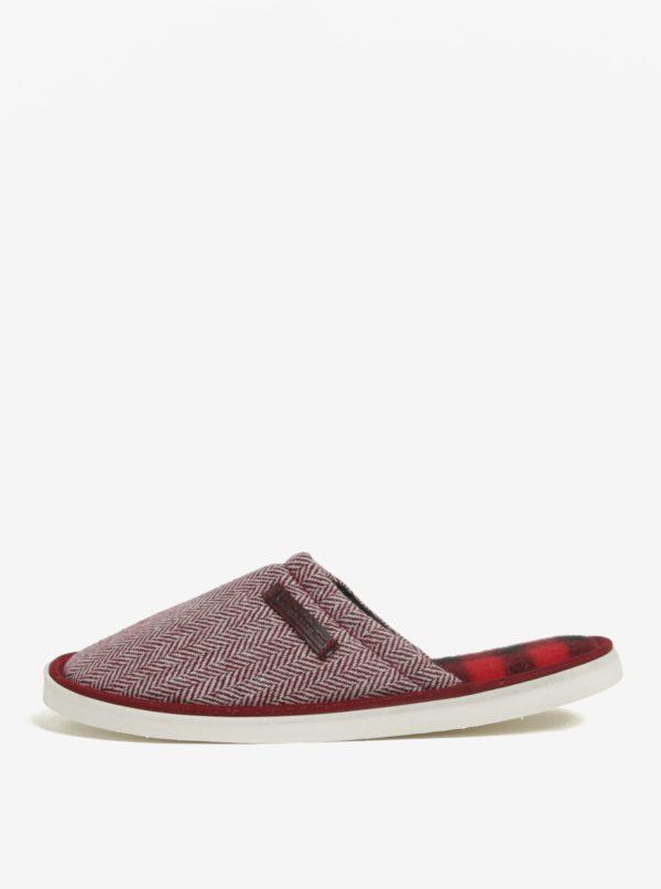 Krémovo-červené vzorované papuče Oldcom Luxhome