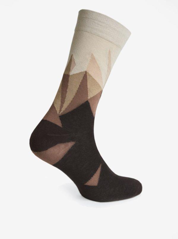 Krémovo-hnedé vzorované pánske ponožky V páru