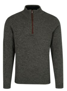 Sivo-zelený melírovaný sveter so zipsom Selected Homme Simon