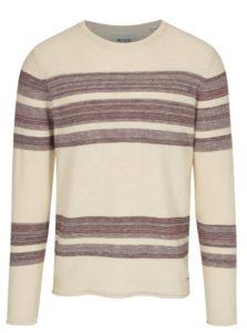 Vínovo-béžový sveter s pruhmi ONLY & SONS Aldin
