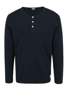 Tmavomodré tričko s dlhým rukávom Jack & Jones Placket