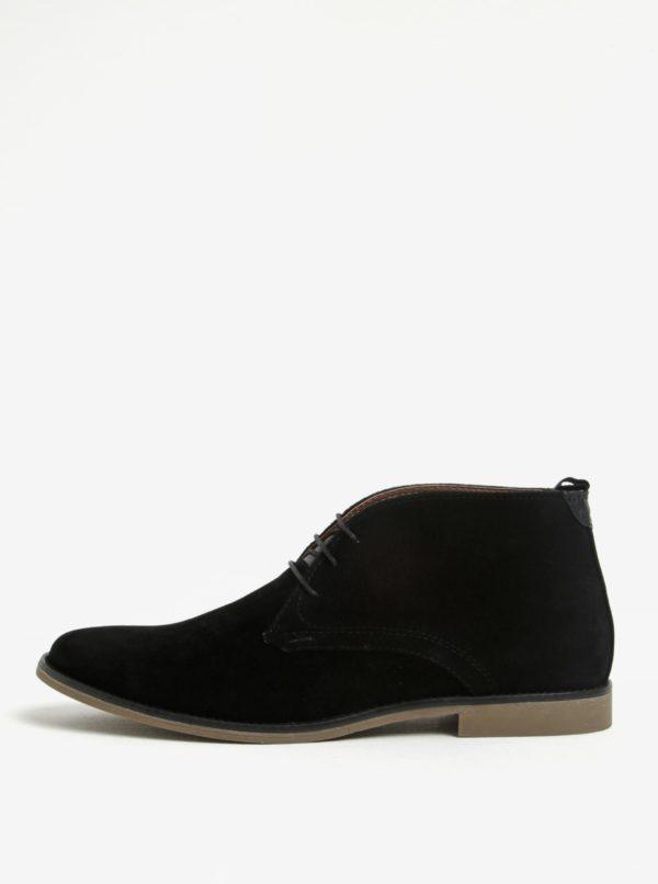 Čierne členkové topánky v semišovej úprave Burton Menswear London