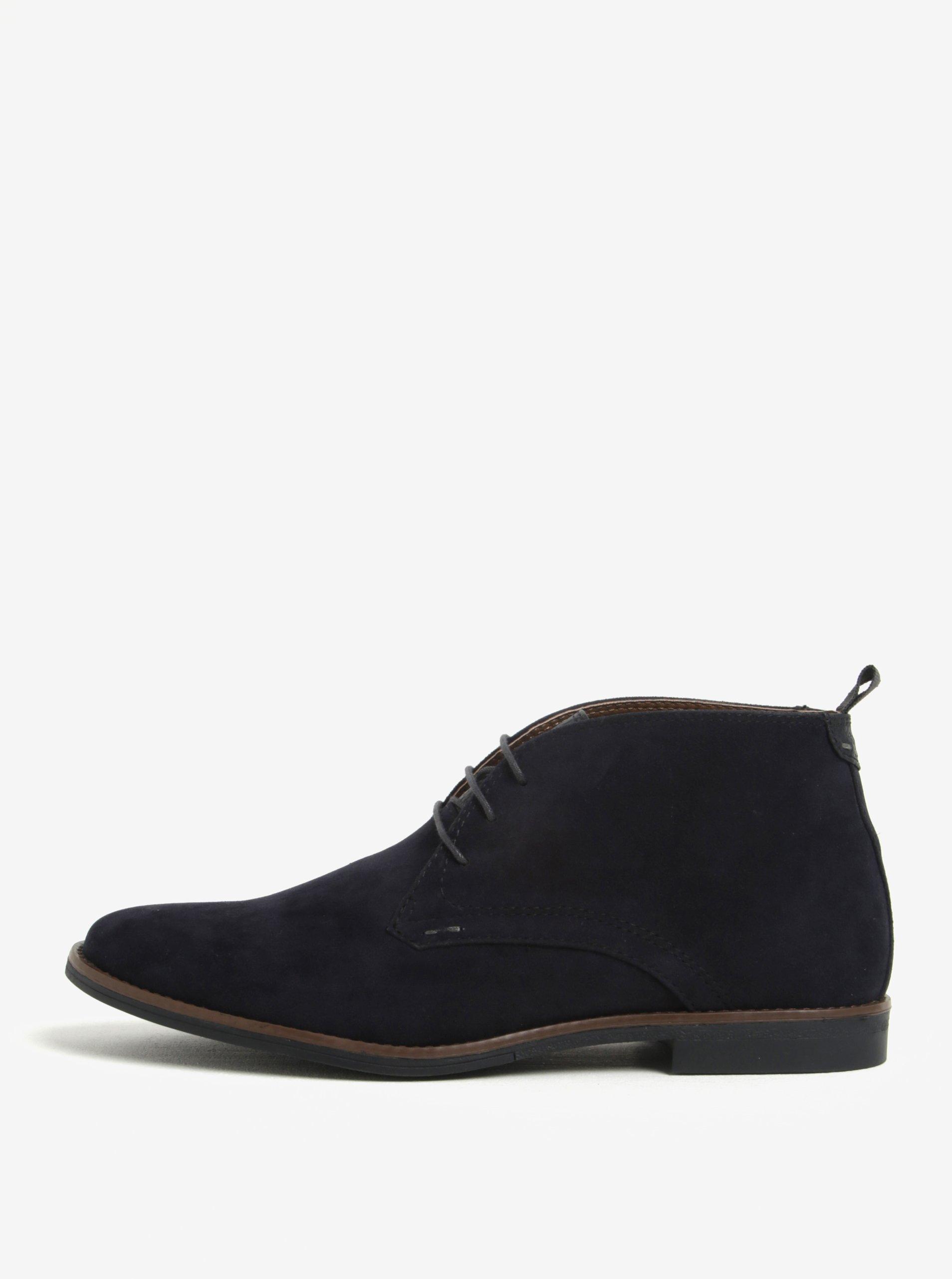 44b506990 Tmavomodré členkové topánky v semišovej úprave Burton Menswear London