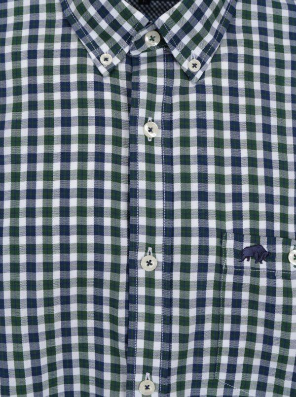 Bielo-zelená kockovaná košeľa s náprsným vreckom Raging Bull